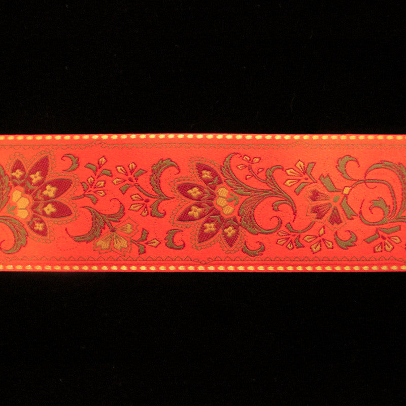 "447.1 Prague red jacquard trim 2-3/16"" (55mm) - Palladia Passementerie  - 1"