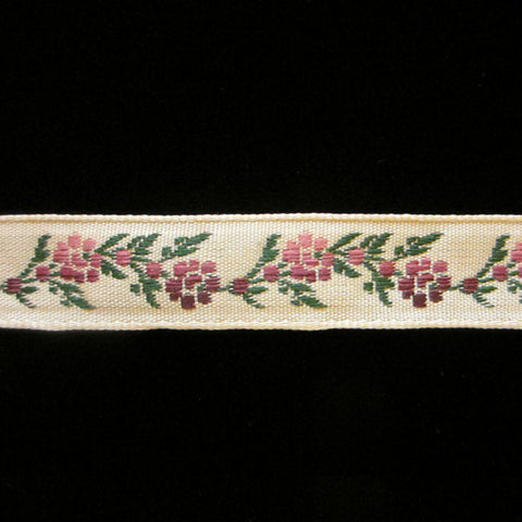 "452.2 Garland purple jacquard trim 1/2"" (13mm) - Palladia Passementerie"