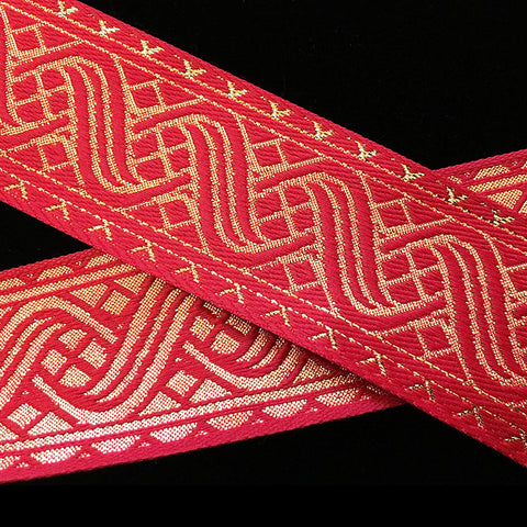 "455.4 Icelandic red/gold jacquard trim 1-1/2"" (38mm)"