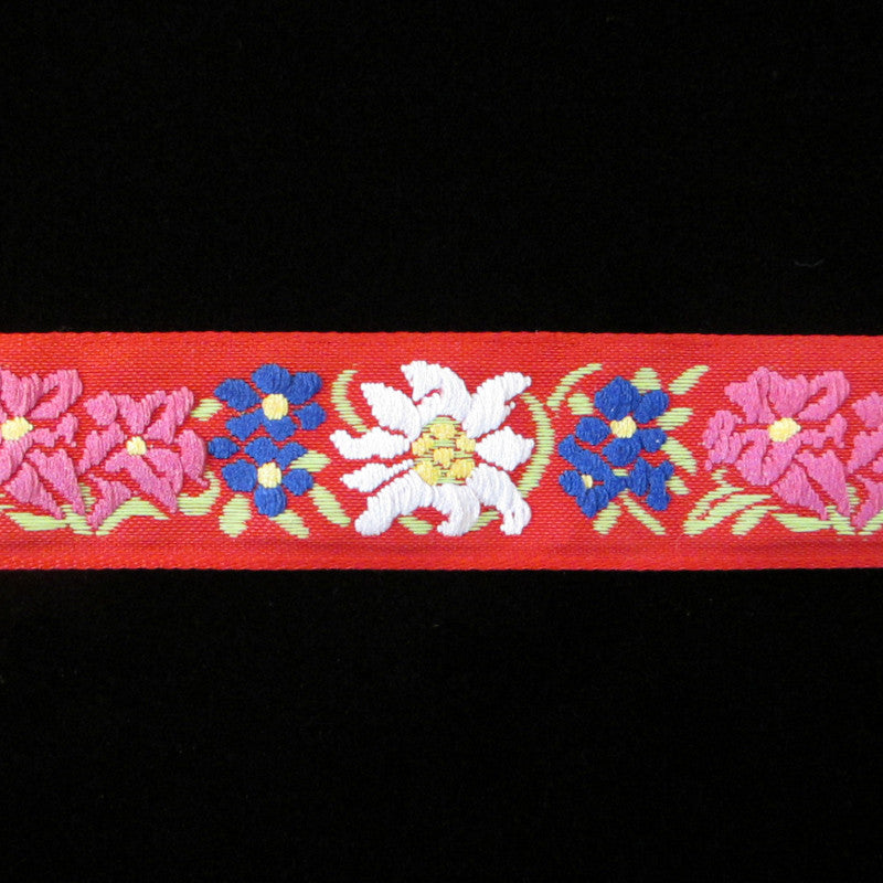 "461.3 Edelweiss red jacquard trim 1"" (24mm) - Palladia Passementerie  - 2"