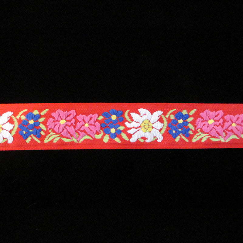 "461.3 Edelweiss red jacquard trim 1"" (24mm) - Palladia Passementerie  - 3"