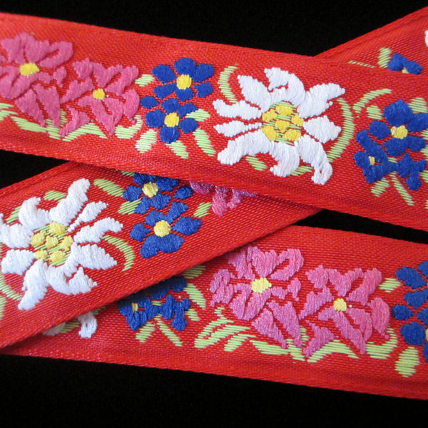 "461.3 Edelweiss red jacquard trim 1"" (24mm) - Palladia Passementerie  - 1"