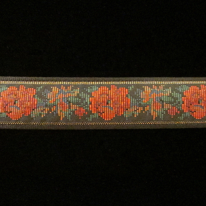 "462 Petit point jacquard trim 1-1/8"" (29mm) - Palladia Passementerie  - 2"