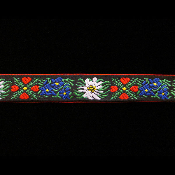 "466.2 Edelweiss red narrow jacquard trim 5/8"" (16mm) - Palladia Passementerie  - 1"