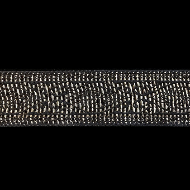 "494.5 Esterhazy metallic antique-gold and black jacquard trim 1-3/8"" (35mm) - Palladia Passementerie  - 2"