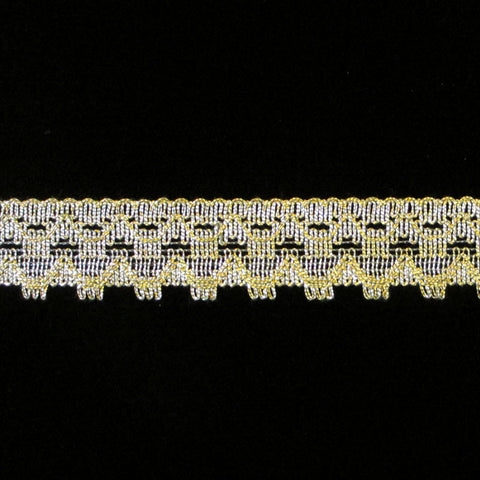 "504 Cogwheel metallic lace bright gold 7/8"" (22mm) - Palladia Passementerie"