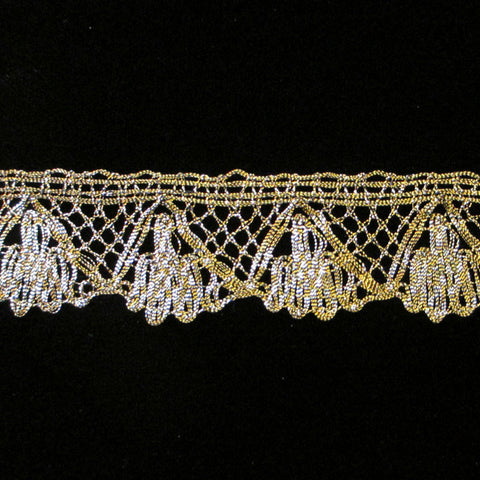 "505.1 Fan metallic lace antique gold 1-1/8"" (28mm) - Palladia Passementerie"