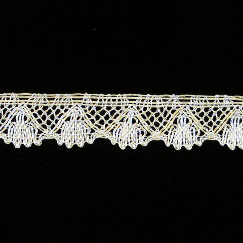 "505.2 Fan metallic lace bright silver 1-1/8"" (28mm) - Palladia Passementerie"
