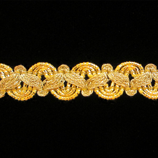 "606.1 Small zig metallic gimp bright gold 3/8"" (9mm) - Palladia Passementerie"