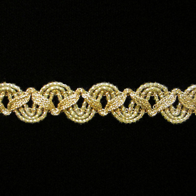 "606.2 Small zig metallic gimp antique gold - 3/8"" (9mm) - Palladia Passementerie"