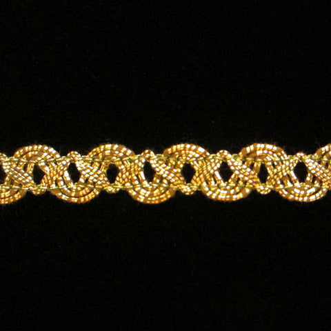 "608 Small zig metallic gimp antique gold 3/8"" (9mm) - Palladia Passementerie"