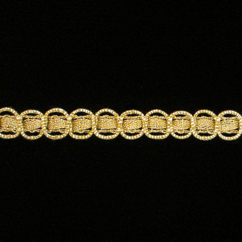 "609.2 Circles metallic gimp antique gold 3/8"" (9mm) - Palladia Passementerie"