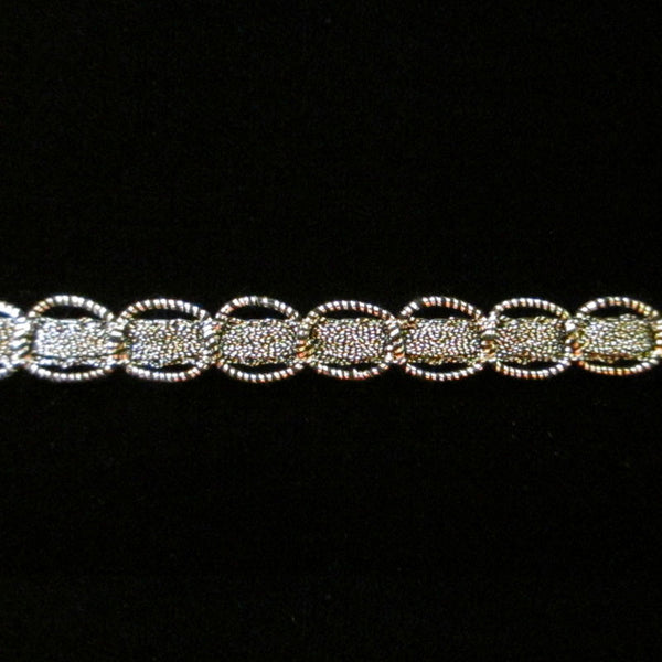 "609.4 Circles metallic gimp antique silver 3/8"" (9mm) - Palladia Passementerie"