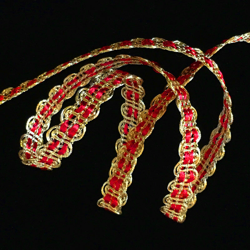 "611.1 Metallic gimp trim - ""U-loop"" bright gold with red - 3/8"" (9mm)"