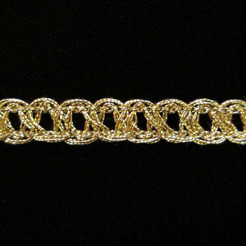 "637.2 Fine parallel metallic gimp antique gold 3/8"" (9mm) - Palladia Passementerie"