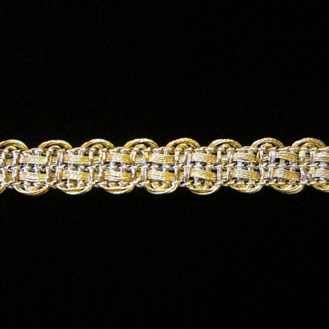"619.5 Basketweave metallic gimp Tudor gold 5/16"" (8mm) - Palladia Passementerie  - 1"