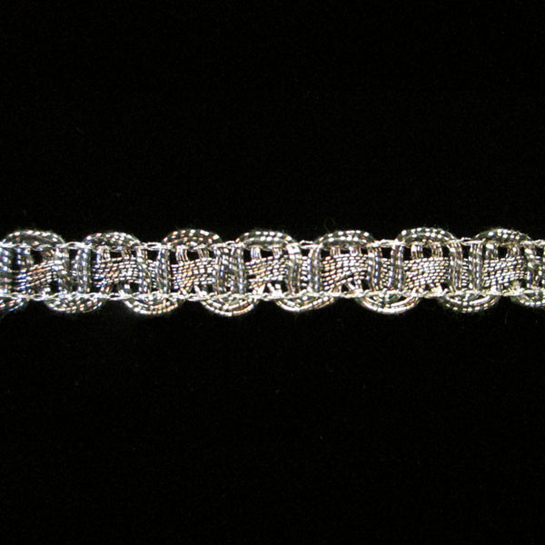 "621.4 Large U-loop metallic gimp trim antique silver 3/8"" (9mm) - Palladia Passementerie"