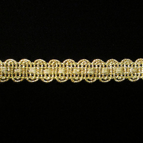 "622 U-loop metallic gimp antique gold 3/8"" (9mm) - Palladia Passementerie"