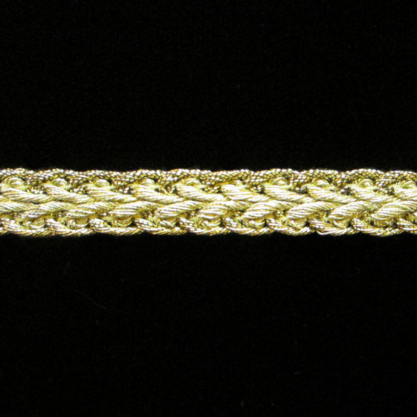 "625 Arrow metallic gimp bright gold 3/8"" (9mm) - Palladia Passementerie"