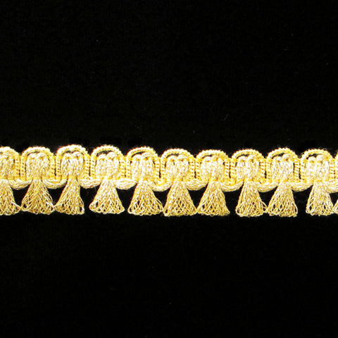 "641.1 Tassel trim metallic gimp bright gold 5/8"" (16mm) - Palladia Passementerie"
