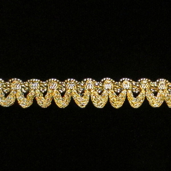 "643.1 Small festoon metallic gimp antique gold 3/8"" (9mm) - Palladia Passementerie"