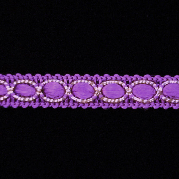 "652.3 Ribbon gimp purple 3/8"" (9mm) - Palladia Passementerie"