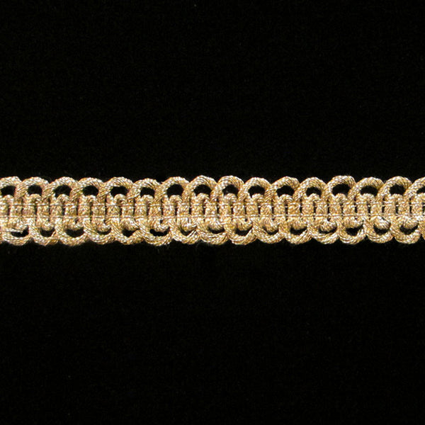 "662 Military gimp double-loop metallic trim antique gold ½"" (13mm) - Palladia Passementerie  - 1"