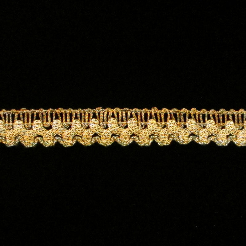 "717 Sharktooth metallic gimp antique gold 1/2"" (12mm) - Palladia Passementerie"