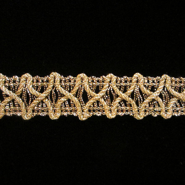 "726 Gimp X metallic gimp antique gold 5/8"" (16mm) - Palladia Passementerie"