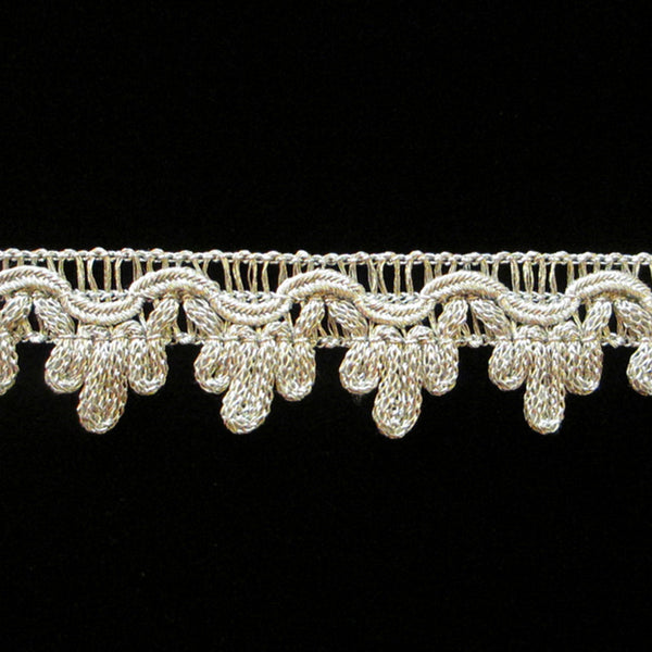 "737.3 Single icing metallic gimp bright silver 3/4"" (19mm) - Palladia Passementerie  - 1"