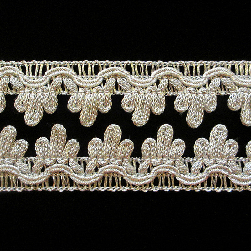 "737.3 Single icing metallic gimp bright silver 3/4"" (19mm) - Palladia Passementerie  - 2"