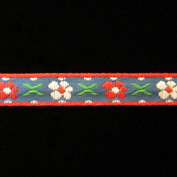 "438.2 Bayern medium blue jacquard trim 3/8"" (9mm) - Palladia Passementerie"