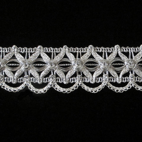 "747.4 Star metallic gimp antique silver 1-3/8"" (35mm) - Palladia Passementerie"
