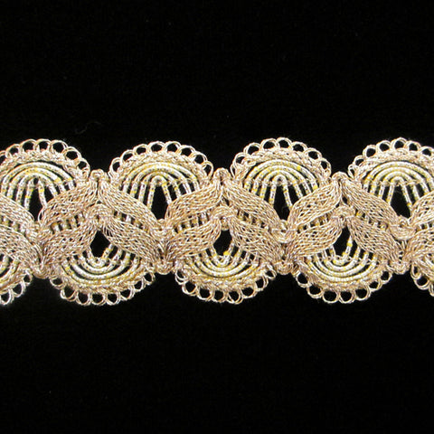 "749.1 Double zig ruff metallic gimp bright gold 1-¼"" (32mm) - Palladia Passementerie"