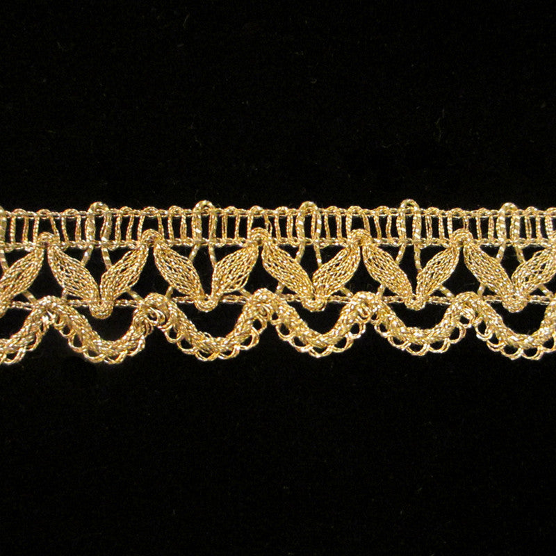 "756 Gimp lace metallic trim antique gold 7/8"" (22mm) - Palladia Passementerie  - 1"