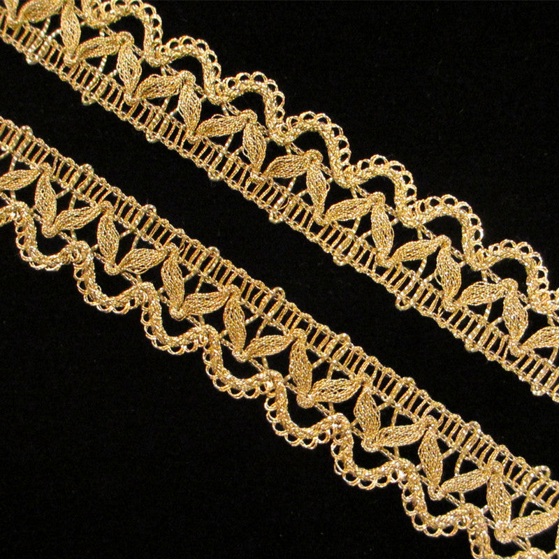 "756 Gimp lace metallic trim antique gold 7/8"" (22mm) - Palladia Passementerie  - 2"