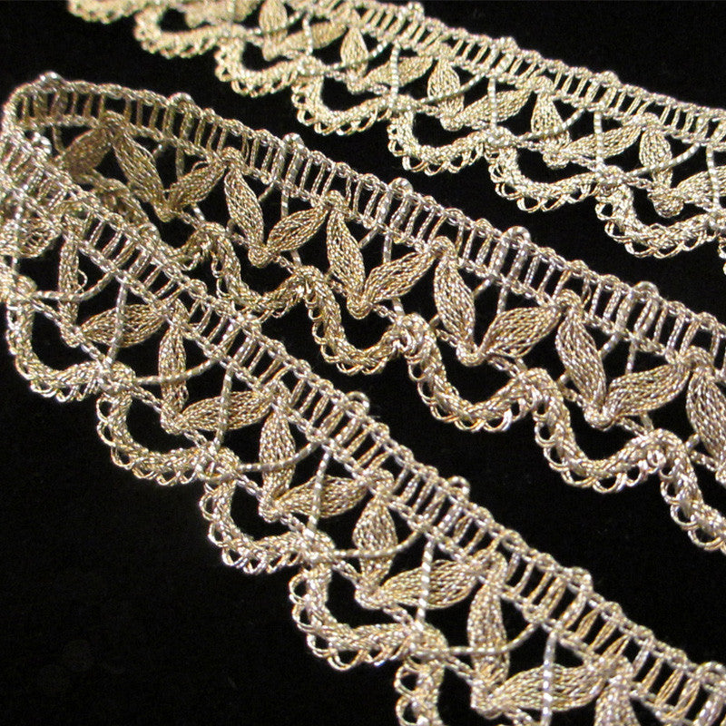 "756 Gimp lace metallic trim antique gold 7/8"" (22mm) - Palladia Passementerie  - 3"