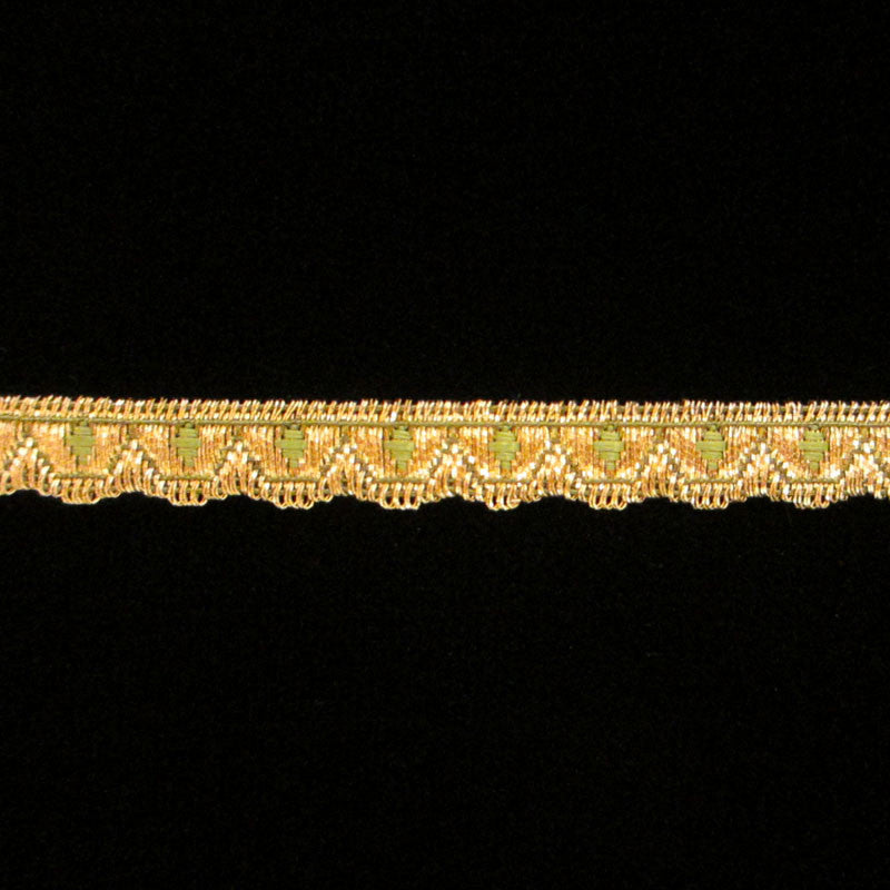 "800.2 Scallop metallic galloon green 3/8"" (9mm) - Palladia Passementerie"