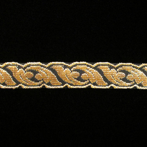 "801.1 Acanthus metallic galloon gold/black 5/8"" (15mm) - Palladia Passementerie"