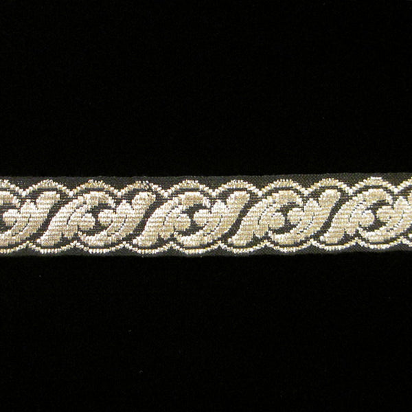 "801.2 Acanthus metallic galloon silver/black 5/8"" (16mm) - Palladia Passementerie"