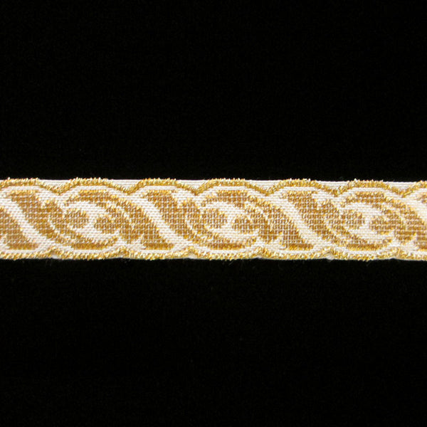 "801.3 Acanthus metallic galloon white/gold 5/8"" (15mm) - Palladia Passementerie"