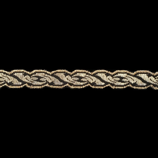 "801.5 Acanthus metallic galloon gold/black 1/2"" (12mm) - Palladia Passementerie"