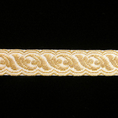 "801.4 Acanthus metallic galloon gold/white 3/4"" (20mm) - Palladia Passementerie"
