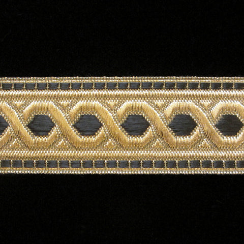 "803.1 Hex with border metallic galloon black/gold 1-3/8"" (35mm) - Palladia Passementerie  - 1"