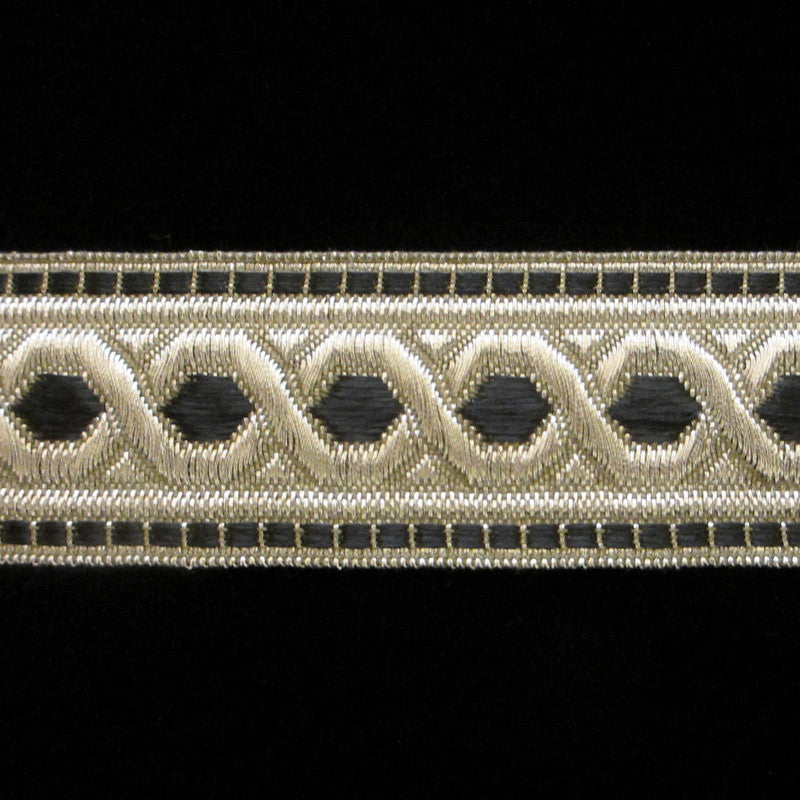 "803.2 Hex with border metallic galloon black/silver 1-3/8"" (35mm) - Palladia Passementerie  - 1"