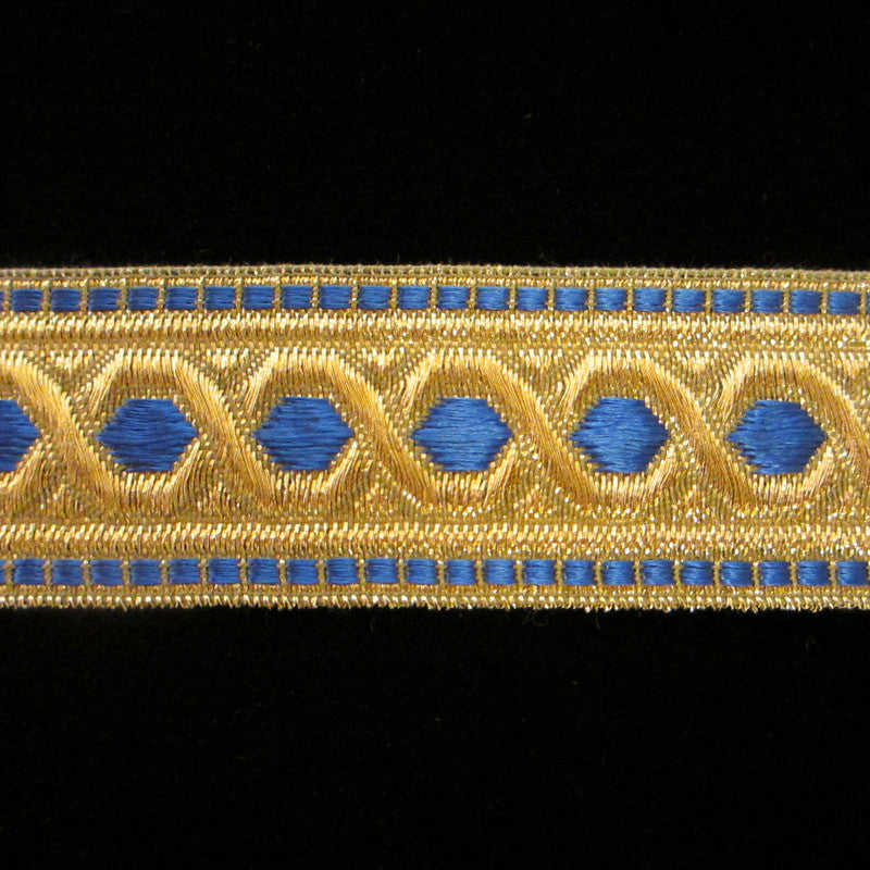 "803.3 Hex with border metallic galloon blue/gold 1-3/8"" (35mm) - Palladia Passementerie  - 2"