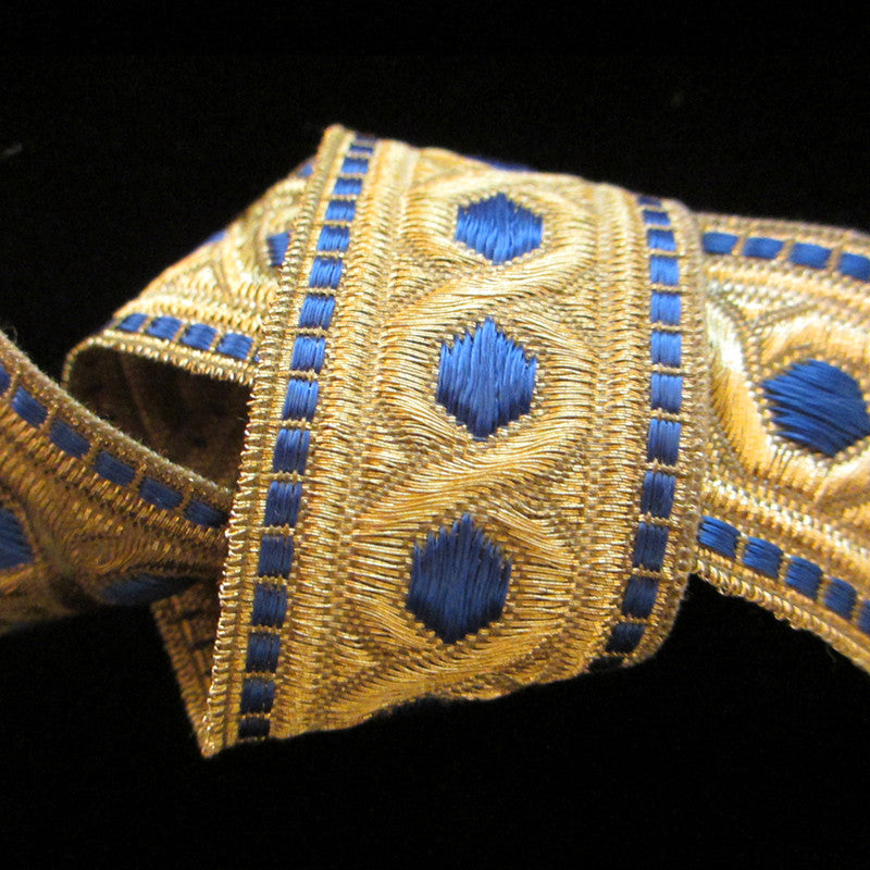 "803.3 Hex with border metallic galloon blue/gold 1-3/8"" (35mm) - Palladia Passementerie  - 1"