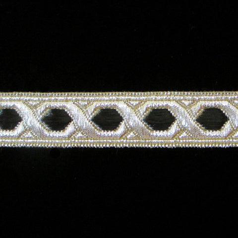 "803.4 Hex with border black/silver 5/8"" (15mm) - Palladia Passementerie"