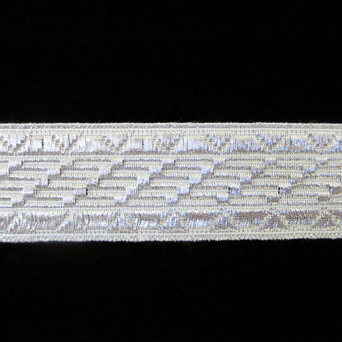 "805.4 Salute metallic galloon bright silver 1"" (25mm) - Palladia Passementerie  - 1"
