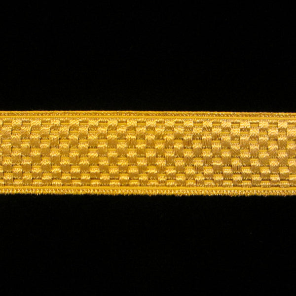"807 Chequers metallic galloon bright gold 3/4"" (20mm) - Palladia Passementerie"